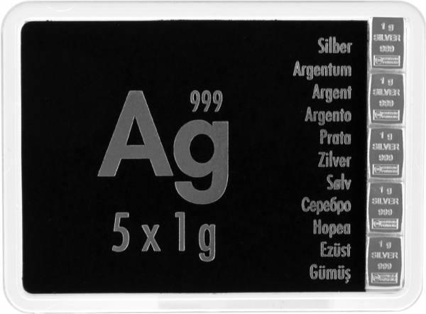 5 x 1 Gramm Silbertafel