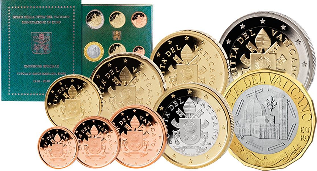 Euro Kursmünzensätze Des Vatikans Verschiedener Jahrgänge