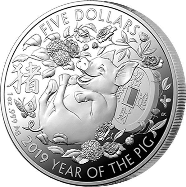 1 Unze Silber Australien Jahr des Schweins 2019
