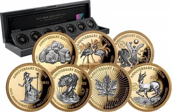 7 x 1.000 Francs Gabun Gold Palladium Edition 2021