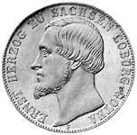 Doppeltaler Silber Ernst Herzog von Sachsen-Coburg 1854 Sehr schön