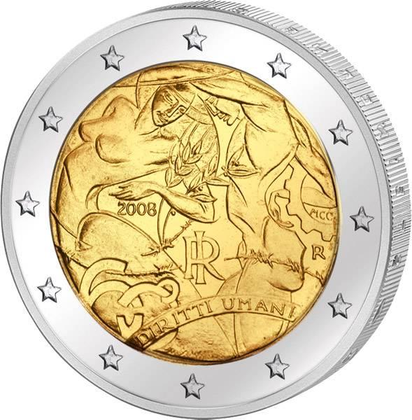 2 Euro Italien 60 Jahre Menschenrechte 2008 prägefrisch