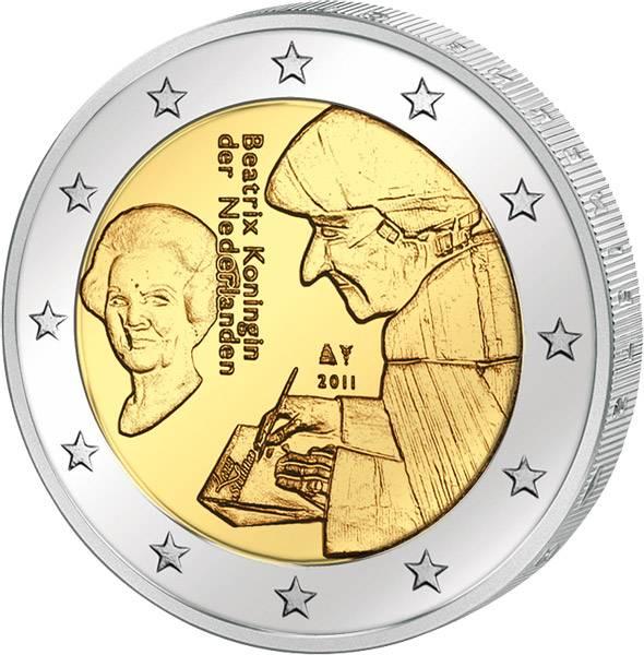2 Euro Niederlande Erasmus von Rotterdam 2011 Stempelglanz