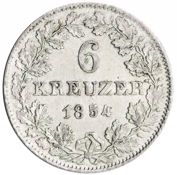 6 Kreuzer Freie Reichsstadt Frankfurt 1852-1856