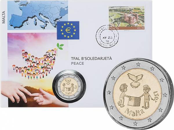 2 Euro Numisbrief Malta Von Kindern mit Solidarität Frieden 2017