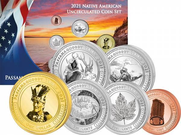 1 Cent - 1 Dollar Kursmünzensatz USA Kursmünzen der Passamaaqoddi 2021