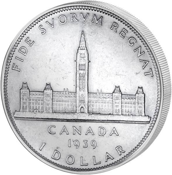 1 Dollar Kanada Paralamentsgebäude 1939 vz-st