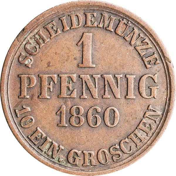 1 Pfennig Herzogtum Braunschweig Herzog Wilhelm 1859/1860