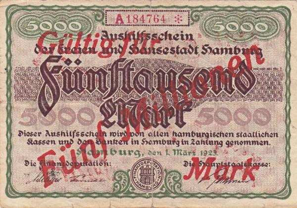 5.000 Mark Hamburg Notgeldschein 1923
