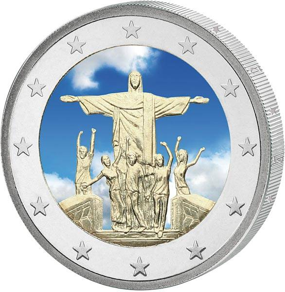 2 Euro Vatikan 28. Weltjugendtag in Rio de Janeiro mit Farb-Applikation 2013