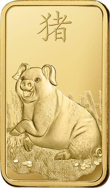1 Gramm Goldbarren Jahr des Schweins
