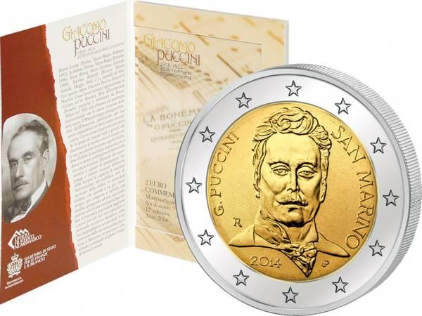 2 Euro San Marino Giacomo Puccini 2014 prägefrisch