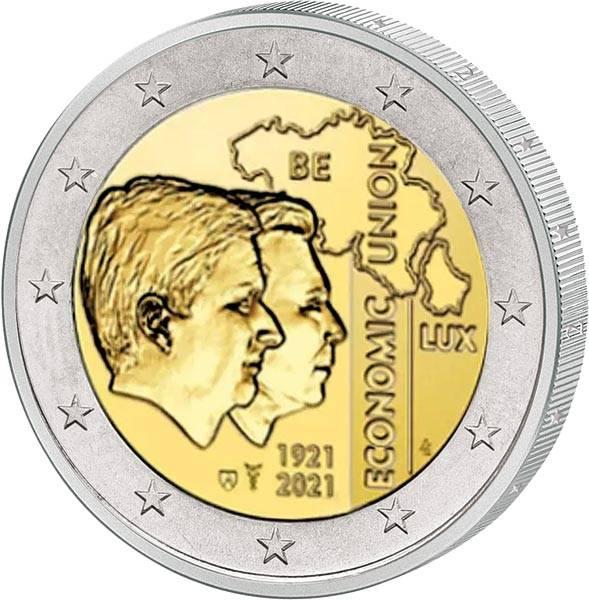 2 Euro Belgien 100 Jahre Wirtschaftsunion mit Luxemburg 2021