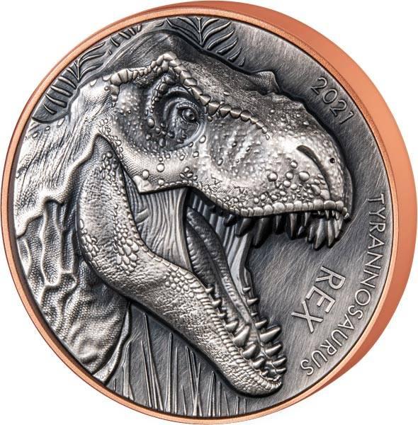 10 Vatu Vanuatu Doppel Silber Gigant - Tyrannosaurus Rex 2021