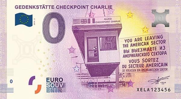 0-Euro-Banknote Gedenkstätte Checkpoint Charlie 2019