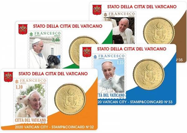 4 x 50 Cent Vatikan Stamp und Coincard Papst Franziskus 2020