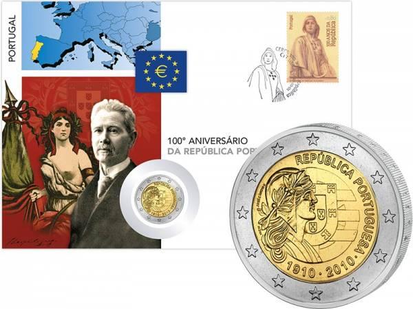 2 Euro Numisbrief Portugal 100 Jahre Portugiesische Republik 2010