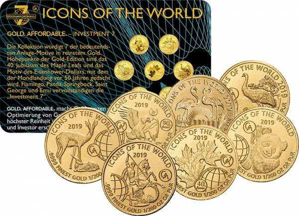 7 x 10 Francs Gold Ruanda Icons of the World 2019