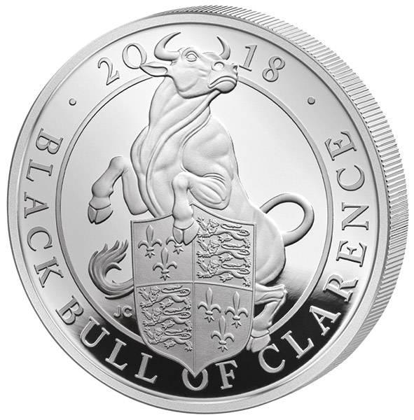 2 Unzen Silber Großbritannien Queens Beasts Der schwarze Bulle von Clarence 2018