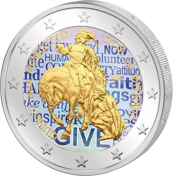2 Euro Vatikan Jahr der Barmherzigkeit 2016 mit Farb-Applikation