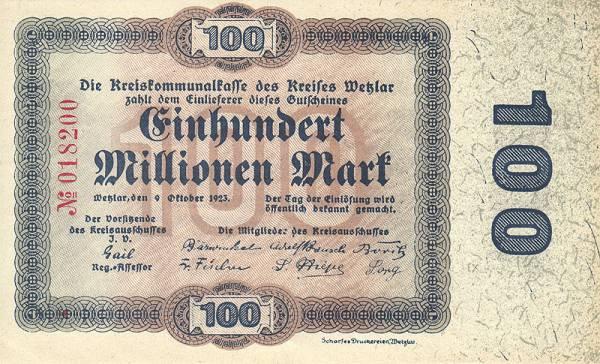 100 Millionen Mark Wetzlar Städte-Notgeldschein 1923