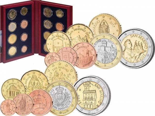 2 x Euro-Kursmünzensatz San Marino 2002 und 2017