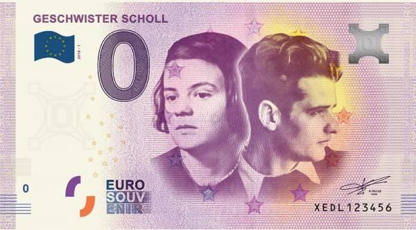 0-Euro-Banknote Geschwister Scholl 2018