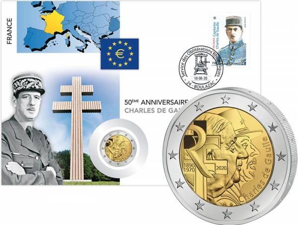 2 Euro Numisbrief Frankreich 50. Todestag von Charles de Gaulle und 80. Jahrestag Apell vom 18.06.1940 2020