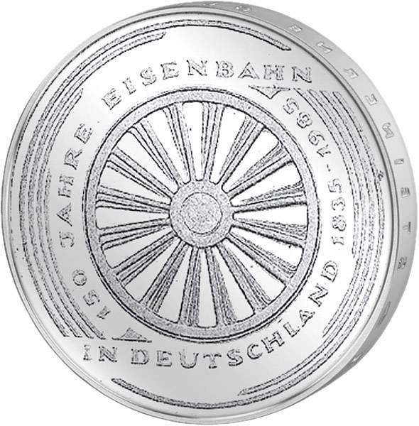 5 DM BRD 150 Jahre Eisenbahn in Deutschland