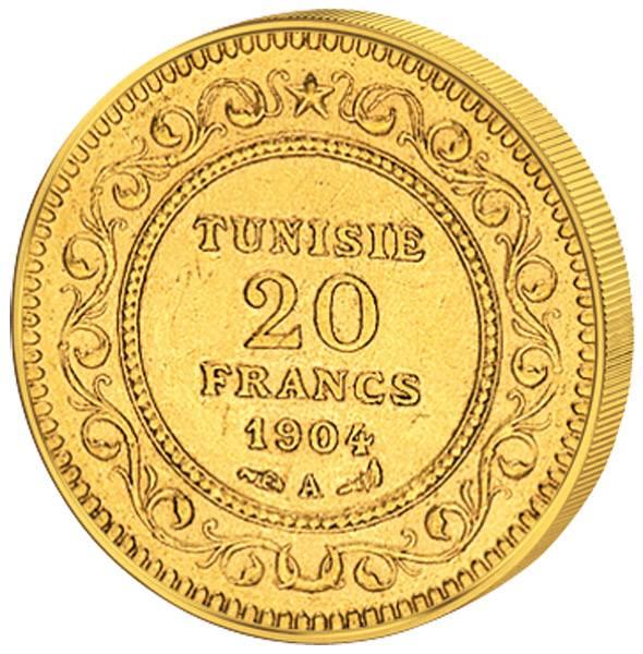 20 Francs Tunesien Französischer Protektorat 1891-1906 Vorzüglich