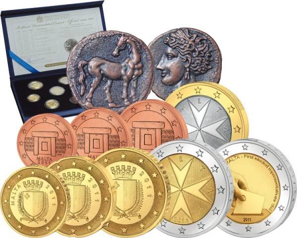 Euro-Kursmünzensatz Malta 2011 inkl. 2-Euro-Gedenkmünze und Replik