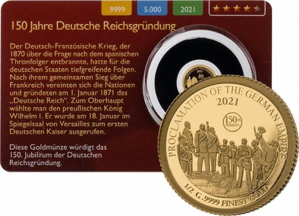 3.000 Francs Tschad 150. Jahrestag deutsche Reichsgründung Gold Coin Card 2021