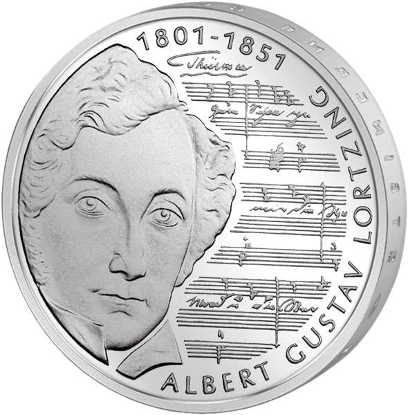 10 DM Münze BRD 200. Geburtstag Albert Gustav Lortzing 2001