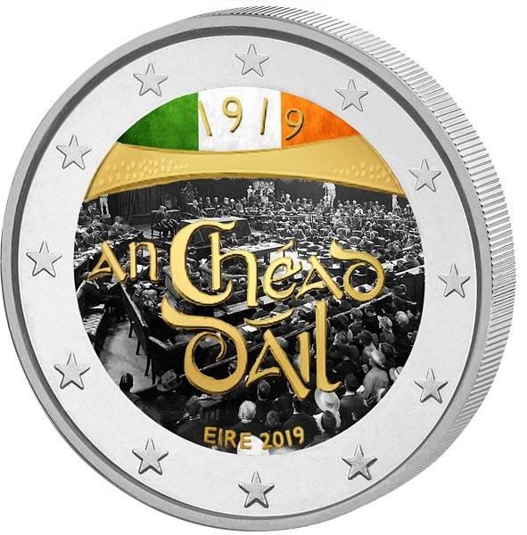 2 Euro Irland 100. Jahrestag der ersten Versammlung in Dáil Éireann 2019 mit Farb-Applikation