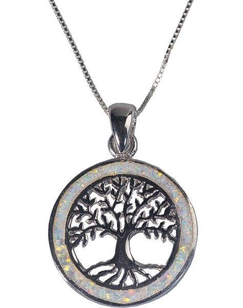 Lebensbaumkette mit weißem Opal