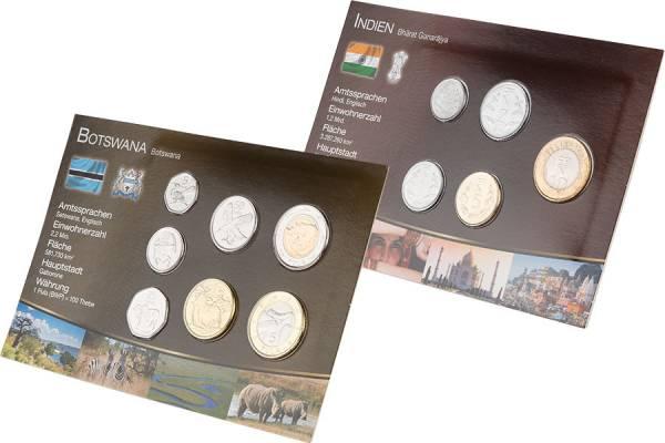 Premium-Kursmünzen-Set Botswana und Indien