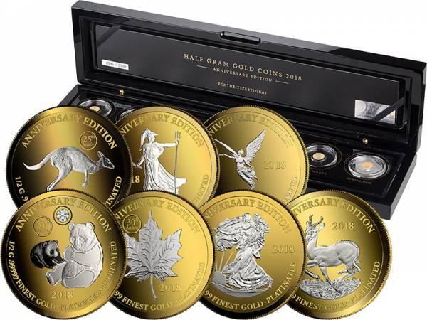 7 x 1.000 Francs Gabun Gold Platinum Edition 2018