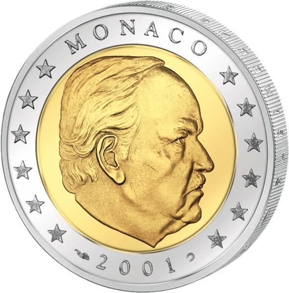 2 Euro Kursmünze Monaco Rainier III. 2001 Stempelglanz