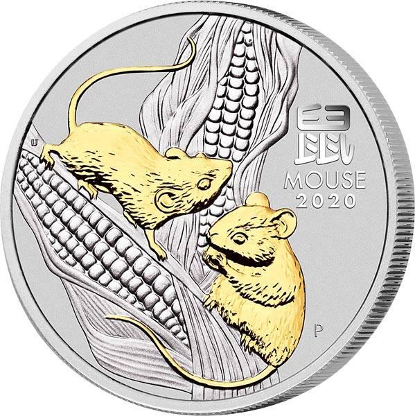 1 Unze Silber Australien Jahr der Maus 2020 mit Gold-Applikation