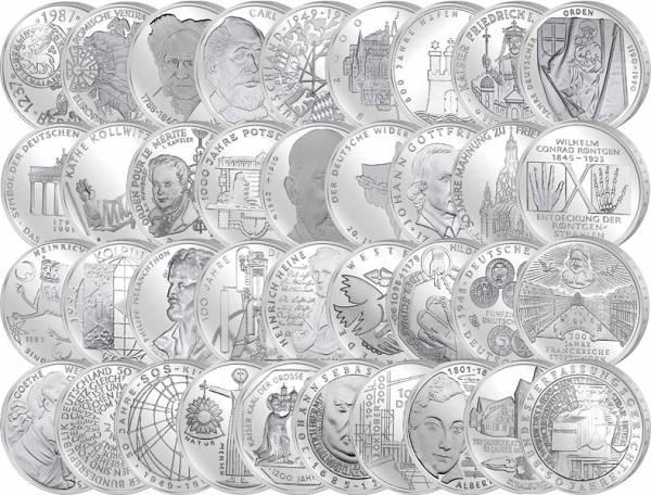 37 x 10 DM BRD Komplett-Sammlung 1972-2001 J.u.W. Stempelglanz