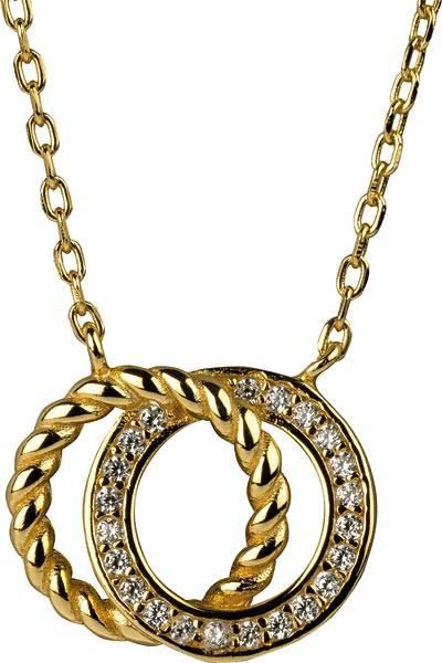 Halskette mit 2 Ringen und Zirkoniasteinchen