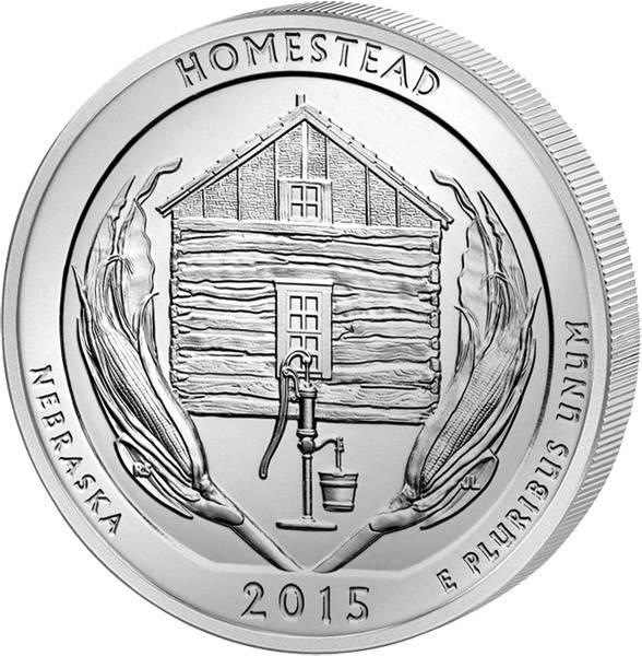 Quarter Dollar USA Nebraska-Homestead National Monument 2015 prägefrisch