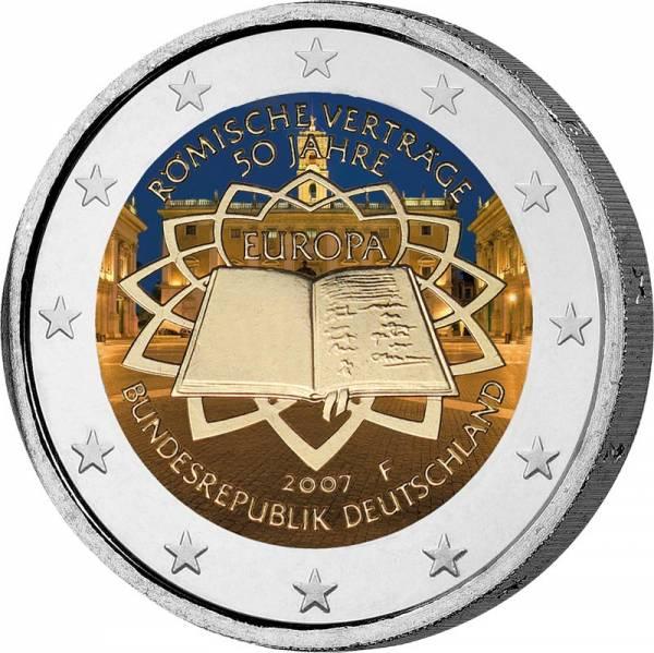 2 Euro BRD Römische Verträge 2007 mit Farb-Applikation