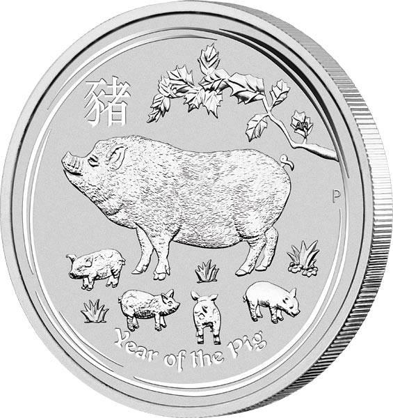 2 Unzen Silber Australien Jahr des Schweins 2019