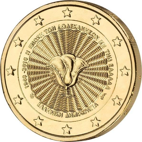 2 Euro Griechenland 70 Jahre Vereinigung des Dodekanes mit Griechenland 2018 vollvergoldet
