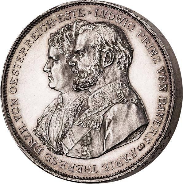Silbermedaille Prinz Ludwig III. Silberne Hochzeit 1893