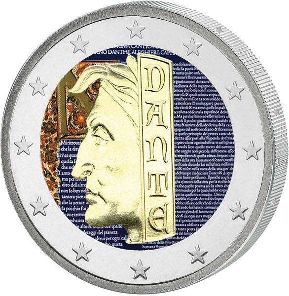 2 Euro San Marino Dante Alighieri mit Farb-Applikation 2015