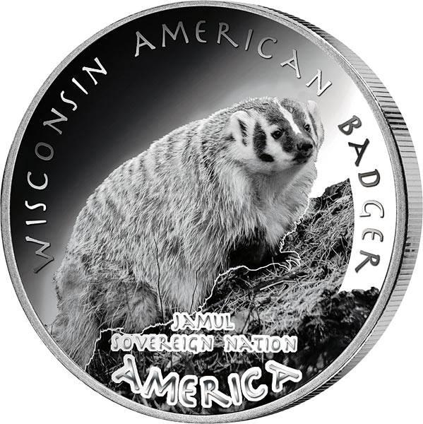 1 Dollar USA Native State Dollar Potawatomi Wisconsin Amerikanischer Dachs 2021