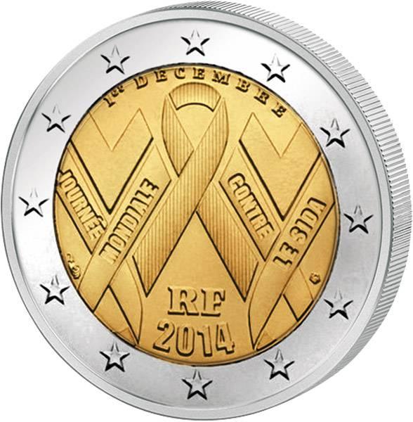 2 Euro Frankreich Welt-AIDS-Tag 2014 prägefrisch