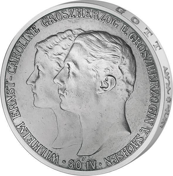 5 Mark Sachsen Weimar Eisenach Hochzeit mit Caroline 1903 Vorzüglich